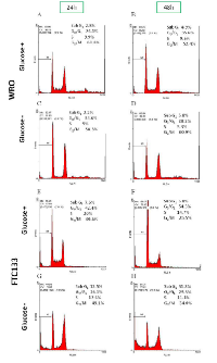 Figure 2:  Different growth response to glucose  availability between WRO and FTC133 cells.